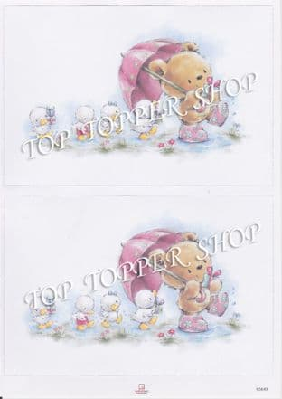 DIE CUT  TOPPERS BEAR & DUCKLINGS 3649 RED HOT BED