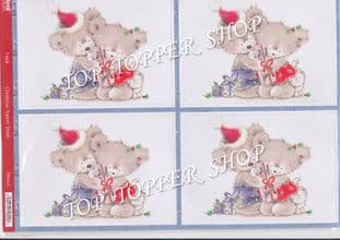 DIE CUT TOPPERS CHRISTMAS BEARS 1468 - RED HOT BED