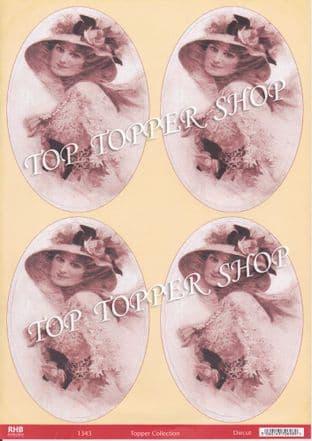 DIE CUT TOPPERS VINTAGE LADY 1343 - RED HOT BED