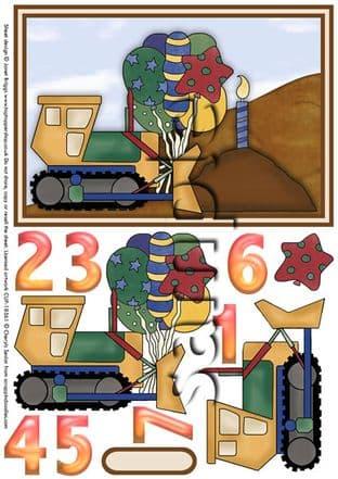 Digger / Dumper Truck Decoupage Printed Sheet 296