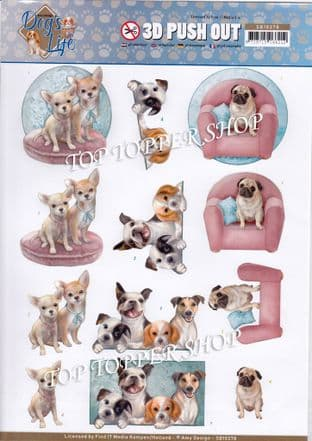Dog's Life Die Cut Decoupage Sheet Amy Design Push Out SB10378