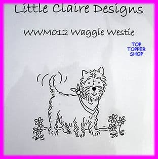 DOG STAMP - WAGGIE WESTIE by LITTLE CLAIRE DESIGNS