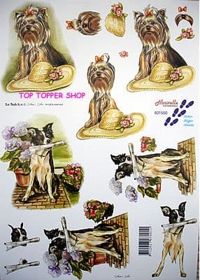 Dogs Collie & Terrier Decoupage Sheet Requires Cutting Le Suh 821550