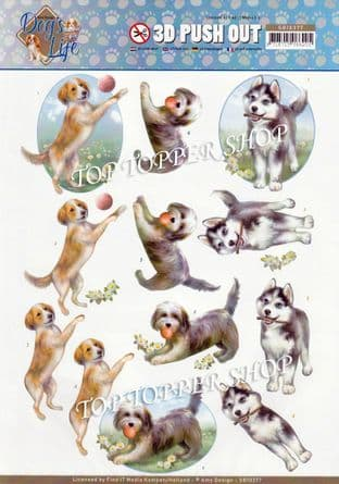 Dogs Playing Die Cut Decoupage Sheet Yvonne Creations Push Out SB10377