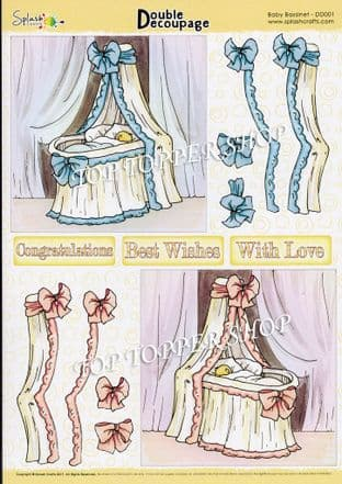Double Decoupage Sheet Baby Bassinet Splash Crafts DD001 requires cutting