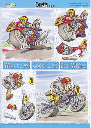 Double Decoupage Sheet Silver Machine Motorbikes Splash Crafts DD037 requires cutting