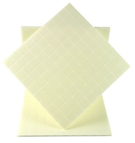 Double Sided Sticky Foam Pads 3 Sheets x 100 Pinflair Pads 10mm x 10mm x 2mm