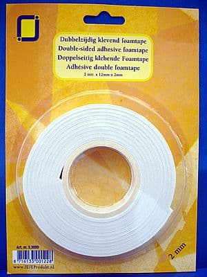 Double Sided Sticky Foam Tape 2m Roll 2mm deep JEJE