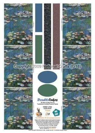 DOUBLETAKES - WATER LILIES - DIE CUT DECOUPAGE & INVERTED G18