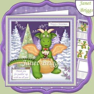 DRAGON PUDDIN UP WITH ME 7.5 Christmas Decoupage Card Kit digital download