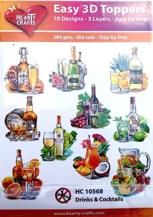 Drinks & Cocktails 10 Easy 3d Die Cut Decoupage Toppers Hearty Crafts HC10568
