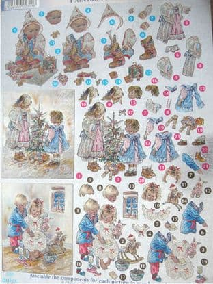 DUFEX DIE CUT DECOUPAGE SHEET CHRISTMAS PAINTBOX POPPETS 12