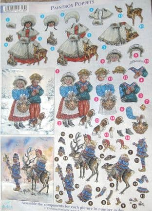 DUFEX DIE CUT DECOUPAGE SHEET CHRISTMAS PAINTBOX POPPETS 14