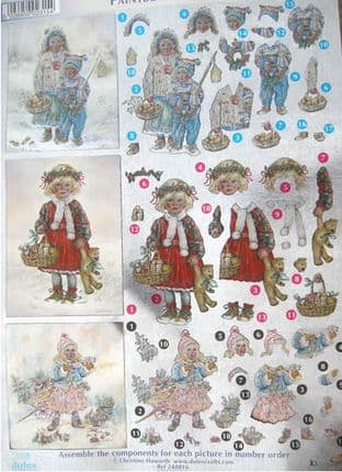 DUFEX DIE CUT DECOUPAGE SHEET CHRISTMAS PAINTBOX POPPETS 16