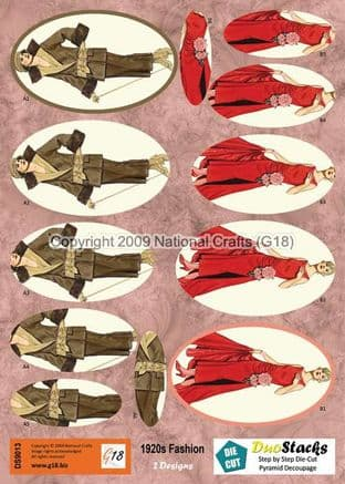 DUOSTACKS - 1920s FASHION - DIE CUT PYRAMID DECOUPAGE G18