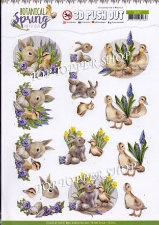 Easter Best Friends Botanical Spring Die Cut Decoupage Sheet Amy Design Push Out SB10437