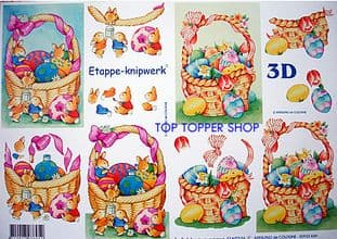 EASTER BUNNIES IN BASKET DECOUPAGE SHEET LE SUH 4169246