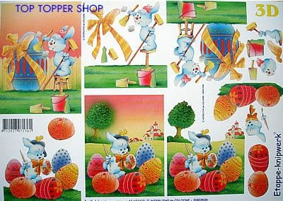 EASTER BUNNY PAINTING EGG DECOUPAGE SHEET LE SUH 4169150
