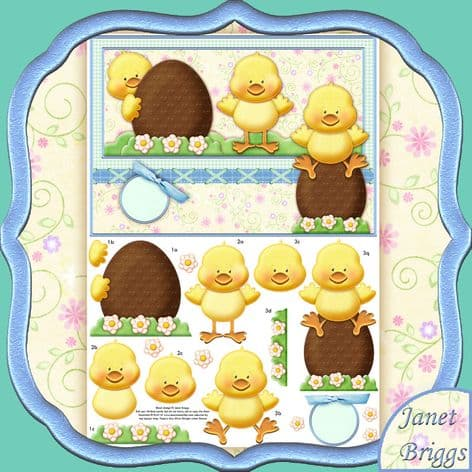Easter Chicks 3 Chirpy Chaps Topper & Decoupage Printed Sheet TTS416KW