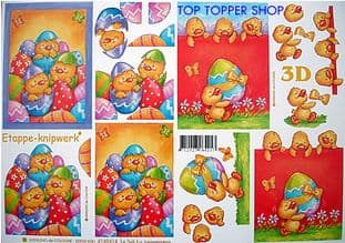 EASTER CHICKS IN SHELLS DECOUPAGE SHEET LE SUH 4169414