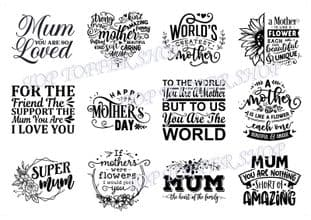 Easy Peel Off Transparent Stickers Mother's Day Sentiments Choose Colour & Finish M2