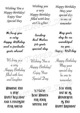 Easy Peel Off Transparent Verses Birthday Sentiments Choose Colour & Finish B4