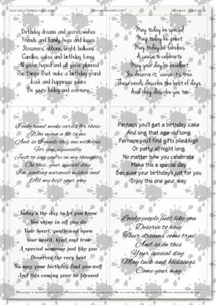 Easy Peely Transparent Verses Birthday Sheet 4