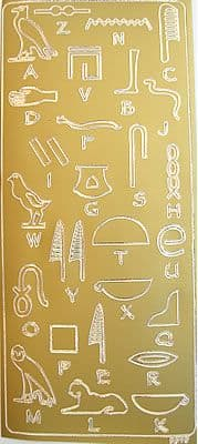 EGYPTIAN HIEROGLYPHIC ALPHABET, GOLD PEEL OFF STICKERS
