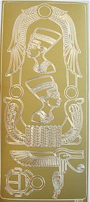 EGYPTIAN NEFERTITI'S CARTOUCHE, GOLD PEEL OFF STICKERS