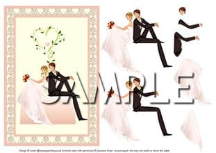 ELEGANT STYLIZED BRIDE & GROOM DECOUPAGE SHEET