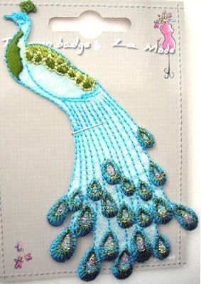 EMBROIDERED APPLIQUE MOTIF - PEACOCK