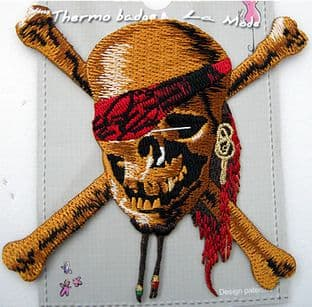 EMBROIDERED APPLIQUE MOTIF - PIRATE SKULL