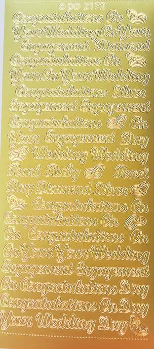 Engagement Wedding Mix Gold Peel Off Stickers Doodey 2172