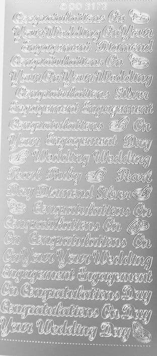 Engagement Wedding Mix Silver Peel Off Stickers Doodey 2172