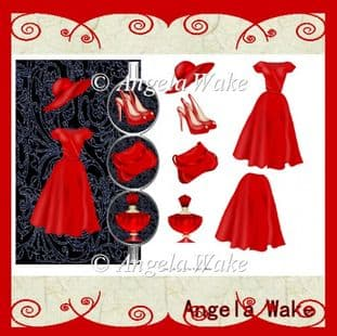 Fashion RED DRESS and ACCESSORIES over the side card AW45