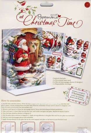 Father Christmas At Christmas Time  Papermania Luxury A5  3d Card Kit