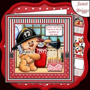 FIREBEAR STAND WELL BACK 7.5 Humorous Birthday Decoupage  Card Kit digital download
