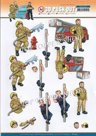 Firemen Professions Big Guys  Die Cut Decoupage Sheet Yvonne Creations Push Out SB10553