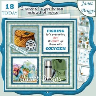 FISHING 7.5 Quick Card Verse or Ages Decoupage Card Kit digital download