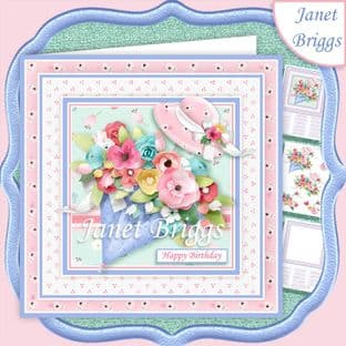 FLORAL UMBRELLA 7.5 Decoupage  Card Kit digital download
