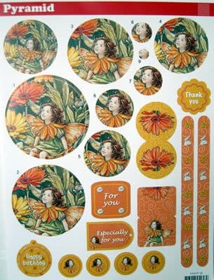 FLOWER FAIRIES 38 DIE CUT PYRAMID DECOUPAGE STUDIO LIGHT