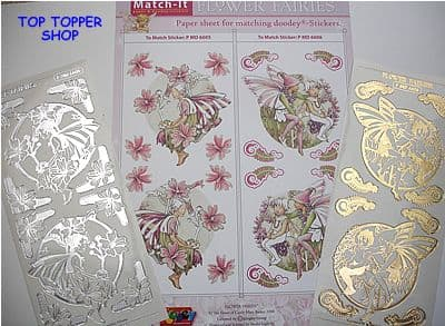 FLOWER FAIRIES PAPER 5 & GOLD MATCH-IT PEEL OFF STICKERS