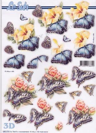 Flower Heads & Butterflies A4 Die Cut Decoupage Sheet Le Suh 680.076