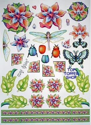 FLOWERS & BUGS - MARY RAHDER DECOUPAGE C2570