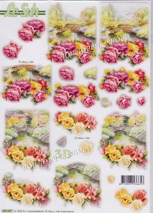 Flowers By The Bridge A4 Die Cut Decoupage Sheet Le Suh 680.087