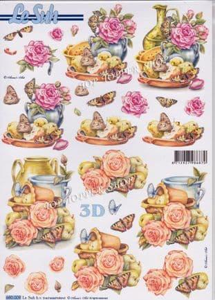 Flowers Fruit & Butterflies A4 Die Cut Decoupage Sheet Le Suh 680.009