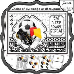 FOOTBALL B&W A5 Decoupage or Pyramage Card Kit digital download