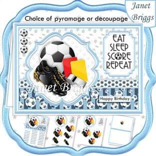 FOOTBALL LIGHT BLUE A5 Decoupage or Pyramage Card Kit digital download