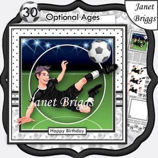 FOOTBALL STRIKER 7.5 B&W KIT Soccer Decoupage Ages Card Kit digital download