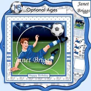 FOOTBALL STRIKER 7.5 BLUE KIT Soccer Decoupage Ages Card Kit digital download